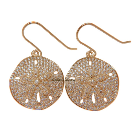 ROSE GOLD PLATED 925 SILVER HAWAIIAN SAND DOLLAR HOOK EARRINGS CZ 21.50MM