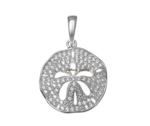 RHODIUM PLATED 925 STERLING SILVER HAWAIIAN SAND DOLLAR PENDANT CZ 18MM