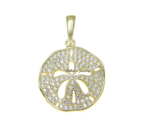 YELLOW GOLD PLATED 925 STERLING SILVER HAWAIIAN SAND DOLLAR PENDANT CZ 18MM