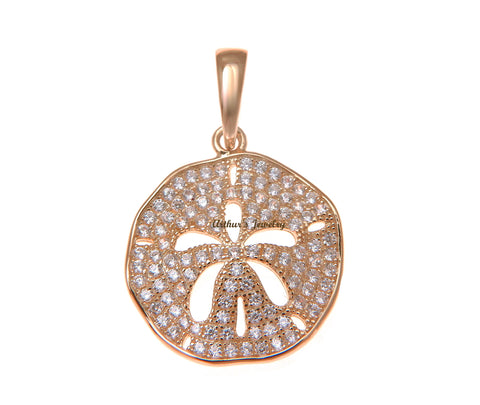ROSE GOLD PLATED 925 STERLING SILVER HAWAIIAN SAND DOLLAR PENDANT CZ 18MM