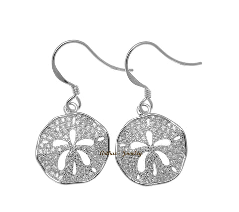 RHODIUM PLATED 925 SILVER HAWAIIAN SAND DOLLAR HOOK EARRINGS CZ 15MM