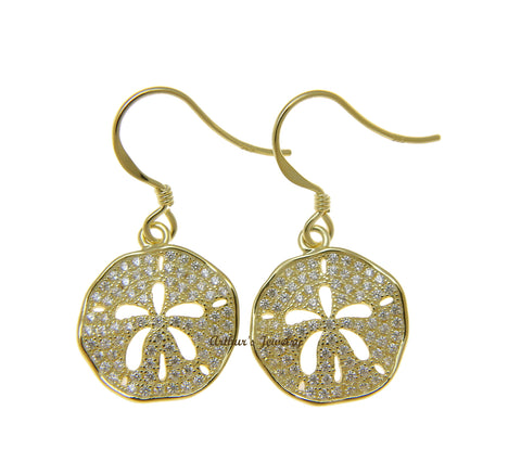 YELLOW GOLD PLATED 925 SILVER HAWAIIAN SAND DOLLAR HOOK EARRINGS CZ 15MM