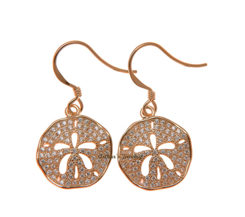 ROSE GOLD PLATED 925 SILVER HAWAIIAN SAND DOLLAR HOOK EARRINGS CZ 15MM