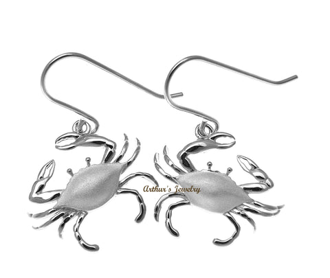RHODIUM PLATED 925 STERLING SILVER HAWAIIAN BLUE PINCHER CRAB HOOK EARRINGS