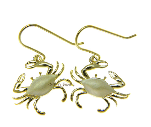 YELLOW GOLD PLATED 925 STERLING SILVER HAWAIIAN BLUE PINCHER CRAB HOOK EARRINGS