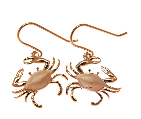 ROSE GOLD PLATED 925 STERLING SILVER HAWAIIAN BLUE PINCHER CRAB HOOK EARRINGS