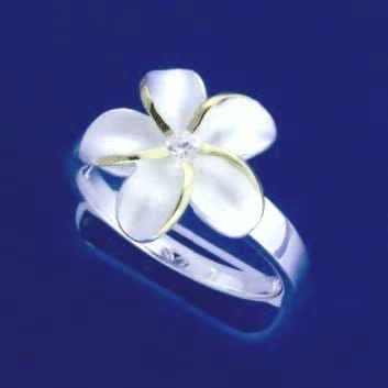 SILVER 925 HAWAIIAN PLUMERIA FLOWER RING 15MM CZ 2 TONE SZ 4- 10