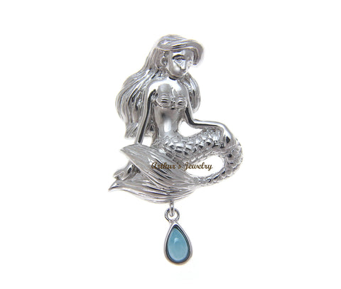 GENUINE NATURAL LARIMAR HAWAIIAN MERMAID SLIDE PENDANT SOLID 925 STERLING SILVER