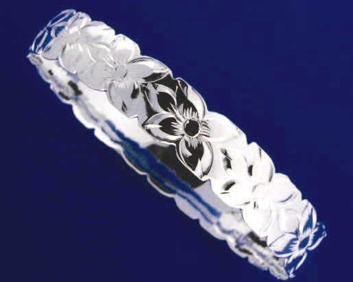 SILVER 925 HAWAIIAN BANGLE BRACELET PLUMERIA FLOWER ALL AROUND CUT OUT EDGE 6MM