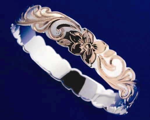 SILVER 925 HAWAIIAN BANGLE BRACELET ROSE PINK GOLD PLUMERIA SCROLL CUT OUT 15MM