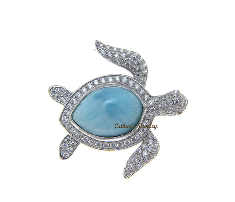 GENUINE NATURAL LARIMAR HAWAIIAN HONU SEA TURTLE CZ SLIDE PENDANT 925 SILVER