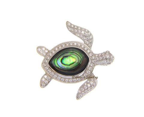 ABALONE PAUA SHELL 925 STERLING SILVER HAWAIIAN SEA TURTLE SLIDE PENDANT CZ 24MM