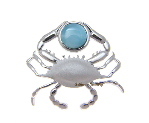 GENUINE NATURAL LARIMAR HAWAIIAN CRAB SLIDE PENDANT HEAVY 925 STERLING SILVER