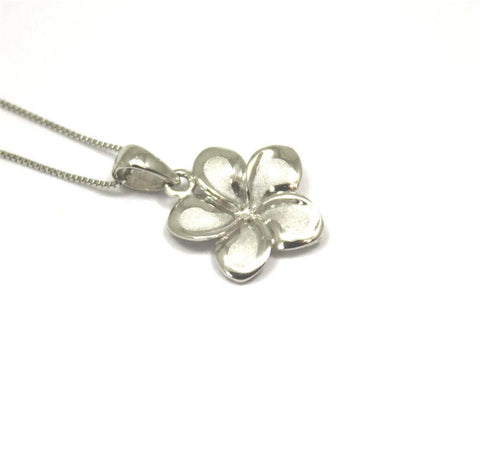 13MM SOLID 14K WHITE GOLD HAWAIIAN FANCY TROPICAL PLUMERIA FLOWER CHARM PENDANT