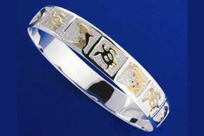 SILVER 925 HAWAIIAN BANGLE BRACELET SWIMMING DOLPHIN HONU TURTLE 12MM 2TONE