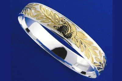 SILVER 925 HAWAIIAN BANGLE BRACELET HIBISCUS FLOWER MAILE LEAF 15MM 2TONE