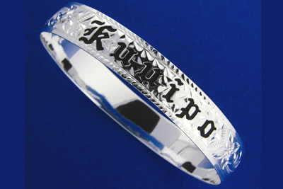 SILVER 925 HAWAIIAN BANGLE BRACELET BLACK ENAMEL KUUIPO SCROLL SMOOTH EDGE 12MM