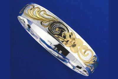 SILVER 925 HAWAIIAN BANGLE BRACELET PLUMERIA SCROLL SMOOTH EDGE 12MM 2 TONE