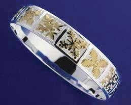 SILVER 925 HAWAIIAN BANGLE BRACELET QUILT YELLOW GOLD PLATED 15MM 2 TONE