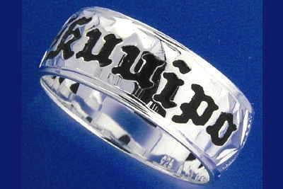 8MM SILVER 925 HAWAIIAN RING BLACK ENAMEL KUUIPO SCROLL SMOOTH EDGE SIZE 3 - 14