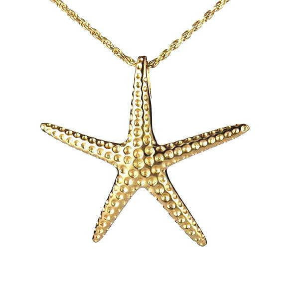 29MM YELLOW GOLD PLATED STERLING SILVER 925 HAWAIIAN STARFISH SLIDER PENDANT