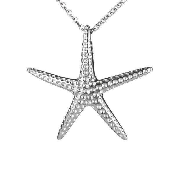 29MM STERLING SILVER 925 HAWAIIAN STARFISH SLIDER PENDANT RHODIUM
