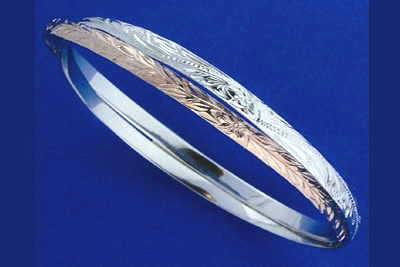 925 STERLING SILVER ROSE GOLD PLATED HAWAIIAN 2 in 1 PLUMERIA SCROLL MAILE BANGLE BRACELET