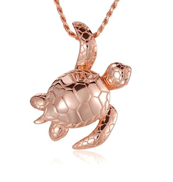 ROSE GOLD PLATED SILVER 925 SHINY 3D HAWAIIAN SEA TURTLE SLIDER PENDANT