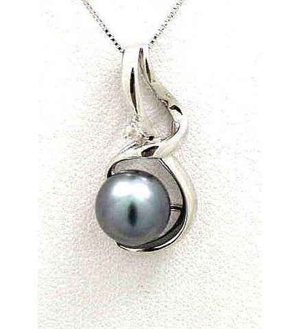 9MM GENUINE TAHITIAN PEARL & DIAMOND PENDANT SOLID 14K WHITE GOLD