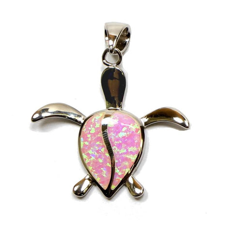 INLAY PINK OPAL HAWAIIAN HONU TURTLE PENDANT SILVER 925 SMALL MEDIUM LARGE
