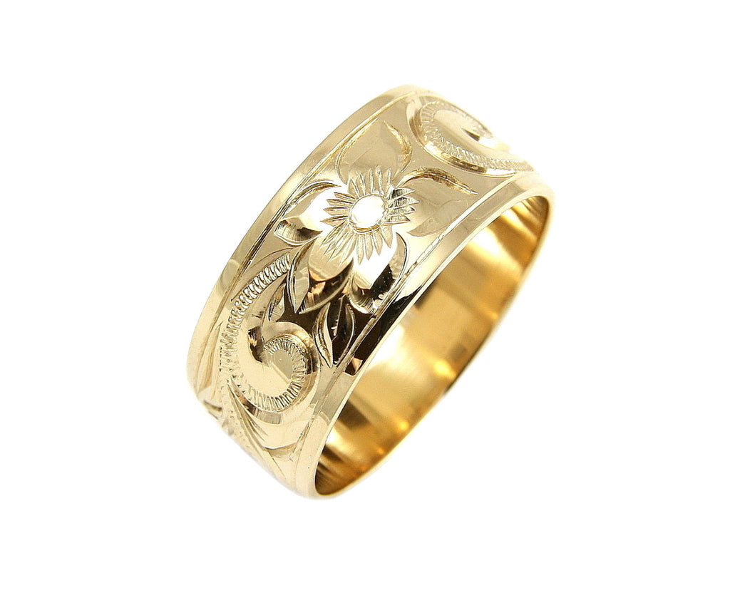 14K YELLOW GOLD HAND ENGRAVE HAWAIIAN PLUMERIA SCROLL BAND RING SMOOTH EDGE 10MM