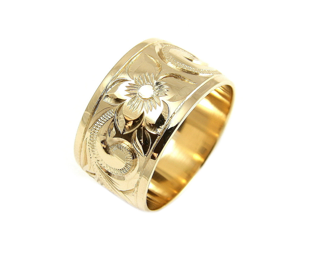 14K YELLOW GOLD HAND ENGRAVE HAWAIIAN PLUMERIA SCROLL BAND RING SMOOTH EDGE 12MM