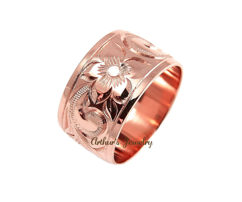 14K ROSE GOLD HAND ENGRAVE HAWAIIAN PLUMERIA SCROLL BAND RING SMOOTH EDGE 12MM