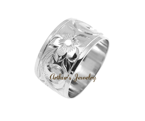 14K WHITE GOLD HAND ENGRAVE HAWAIIAN PLUMERIA SCROLL BAND RING SMOOTH EDGE 12MM