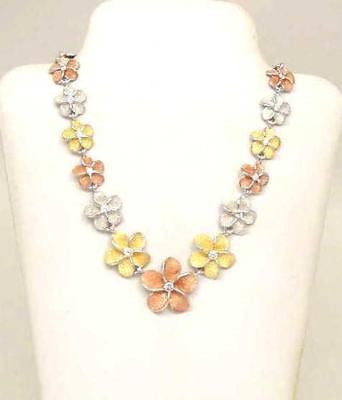 SILVER TRICOLOR HAWAIIAN PLUMERIA GRADUATED NECKLACE