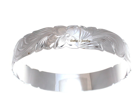 SILVER 925 HAWAIIAN BANGLE BRACELET PRINCESS PLUMERIA FLOWER SCROLL CUT OUT 18MM
