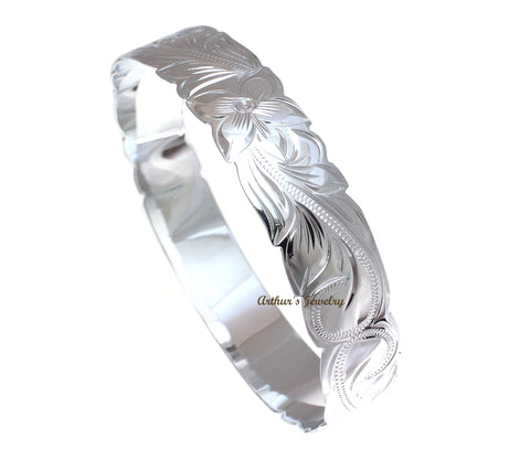 SILVER 925 HAWAIIAN BANGLE BRACELET BLACK ENAMEL KUUIPO SCROLL CUT OUT EDGE 12MM