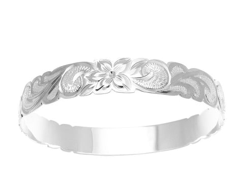 SILVER 925 HAWAIIAN BANGLE BRACELET ALOHA PLUMERIA FLOWER SCROLL CUT OUT 10MM