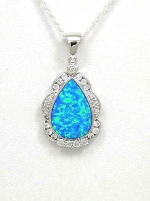 MAN MADE OPAL PENDANT IN STERLING SILVER 925 WITH CZ
