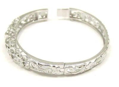 STERLING SILVER 925 HAWAIIAN FANCY PLUMERIA FLOWER MAILE BANGLE BRACELET RHODIUM