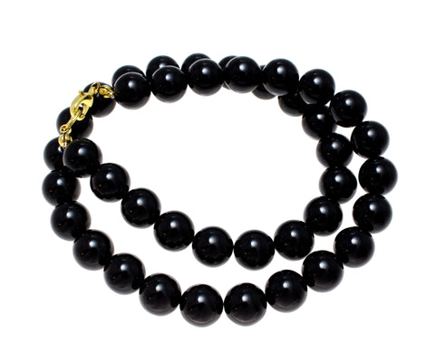 "GENUINE NATURAL BLACK CORAL BEAD BALL STRAND NECKLACE 10MM 16""- 32"""