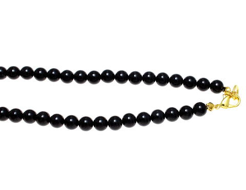 "GENUINE NATURAL BLACK CORAL BEAD BALL STRAND NECKLACE 6MM 16""- 32"""