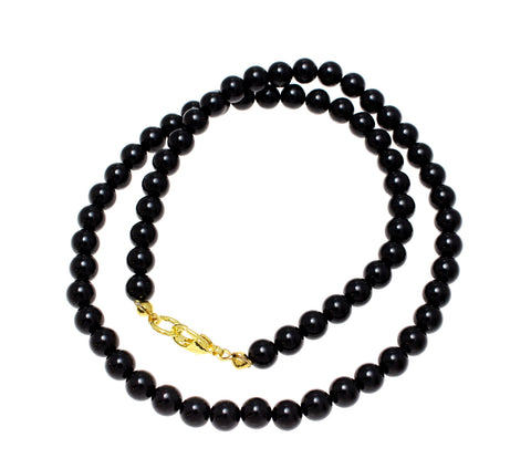 "GENUINE NATURAL BLACK CORAL BEAD BALL STRAND NECKLACE 8MM 16""- 32"""