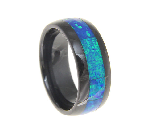 Black Ceramic 8mm Wedding Band Ring Blue Opal Inlay