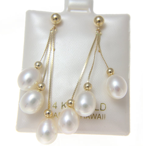 GENUINE TRIPLE FRESH WATER PEARL DANGLE EARRINGS SOLID 14K YELLOW GOLD