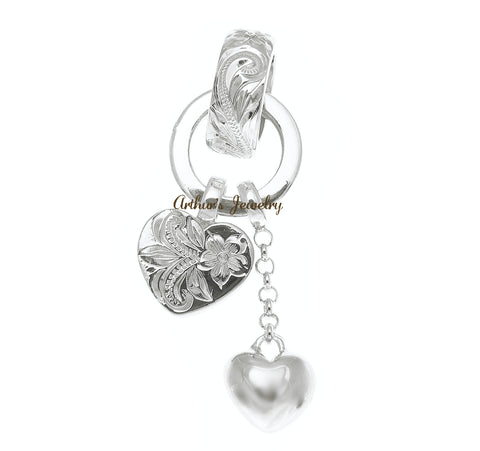 HEAVY SOLID 925 STERLING SILVER HAWAIIAN SCROLL RING HEART PENDANT
