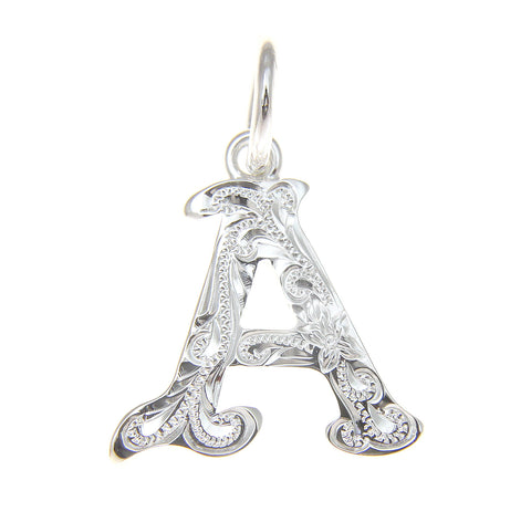 "925 STERLING SILVER HEAVY HAWAIIAN PLUMERIA SCROLL INITIAL LETTER ""A"" PENDANT"