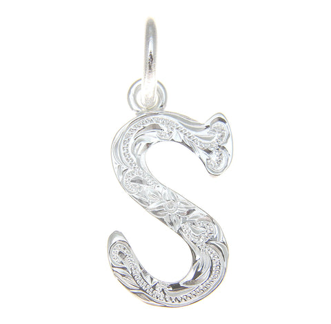 "925 STERLING SILVER HEAVY HAWAIIAN PLUMERIA SCROLL INITIAL LETTER ""S"" PENDANT"