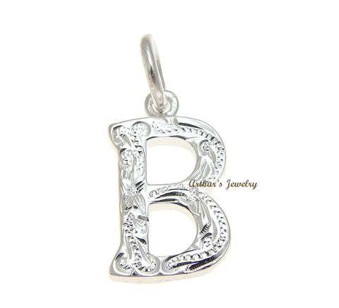 925 STERLING SILVER HEAVY HAWAIIAN PLUMERIA SCROLL INITIAL LETTER B PENDANT