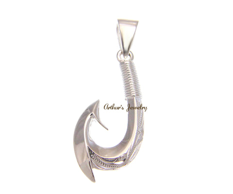 SILVER 925 HAWAIIAN 2 SIDED SCROLL ENGRAVED 3D FISH HOOK PENDANT HEAVY 15MM